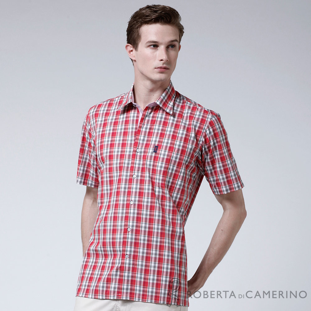 ROBERTA諾貝達 台灣製 嚴選穿搭 學院風格紋短袖襯衫 紅色
