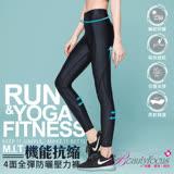 【BeautyFocus】台灣製女款3D彈性防曬抗縮運動壓力褲-5805黑底黑車線