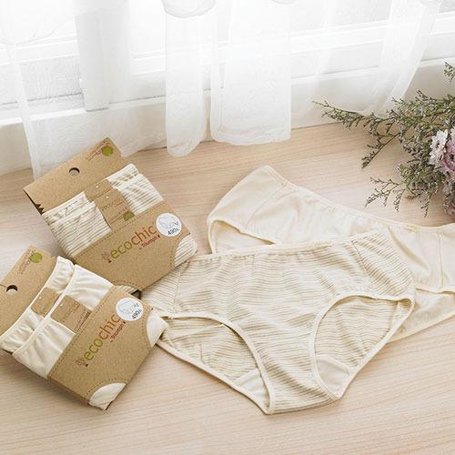 【黛安芬】eco chic裸紗原棉 平口褲包兩件入 M-EL (膚色條紋)