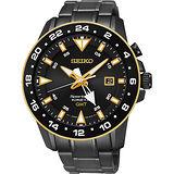 SEIKO Sportura GMT 二地時間專業人動電能腕錶-黑/44mm 5M85-0AA0SD(SUN026J1)