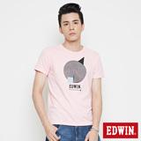 EDWIN 網路限定 幾何圓形短袖T恤-男-淺粉紅