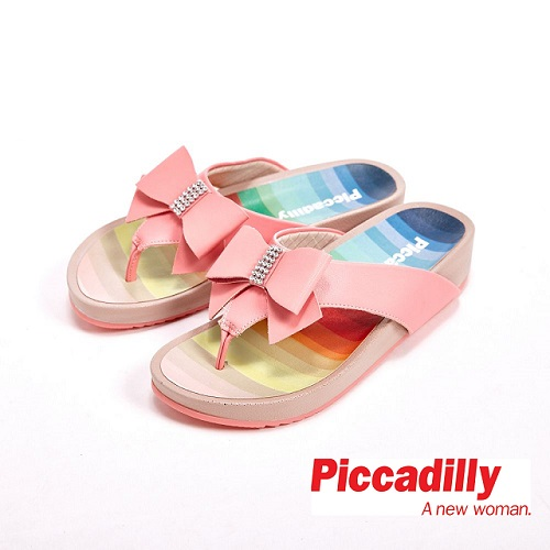 Piccadilly 涼夏必備 蝴蝶結貼鑽設計夾腳拖鞋女鞋 桃(另有黑、綠)
