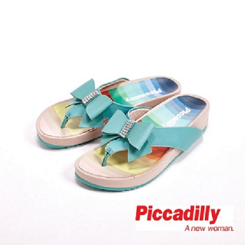 Piccadilly 涼夏必備 蝴蝶結貼鑽設計夾腳拖鞋女鞋 綠(另有黑、桃)