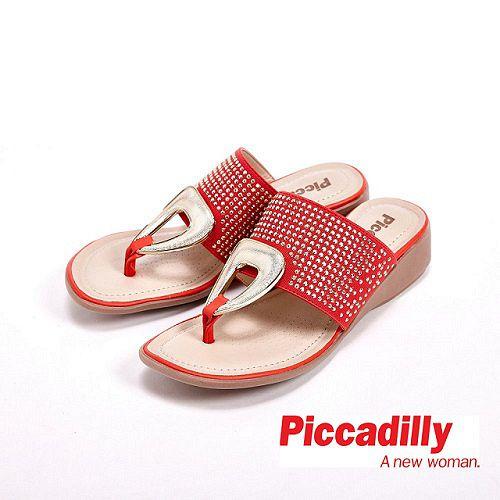 Piccadilly 貼鑽楔型跟夾腳拖鞋 女鞋 橘(另有灰、咖)