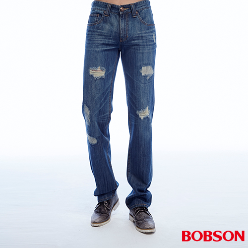 BOBSON  男款低腰刷破直筒褲 (1813-53)