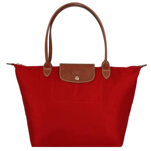 Longchamp 經典摺疊款式長提把水餃包(紅/大)