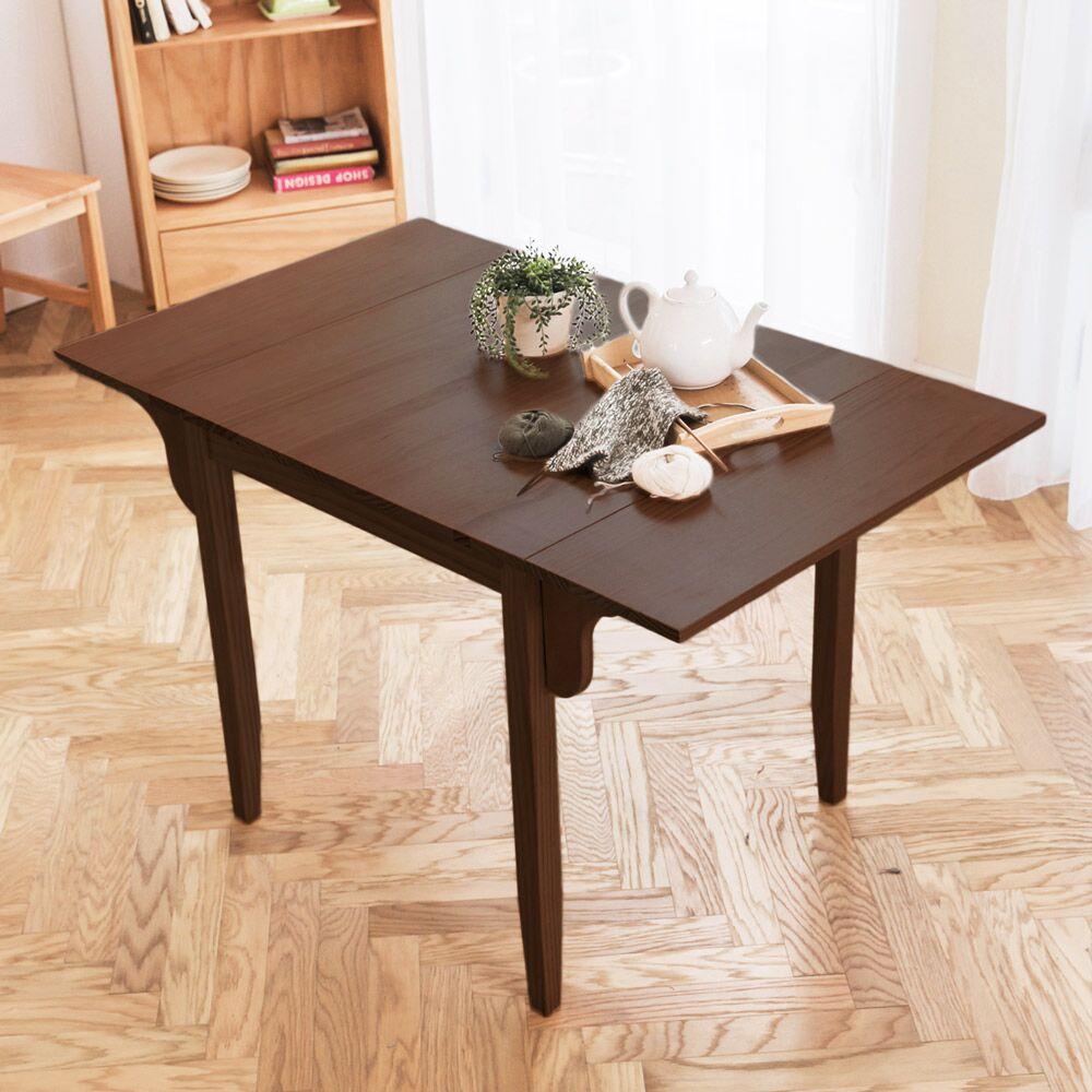 [自然行]-雙邊實木延伸桌74x122cm(焦糖色)