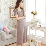 Wonderland 韓系時尚風棉質居家洋裝(灰咖啡)