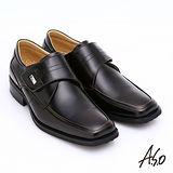 【A.S.O】超輕型男系列 真皮奈米寬楦魔鬼氈紳士鞋(茶色)
