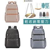 【SUMDEX】NON-531 BK黑色NV藍TU金 (14吋+iPAD ) 時尚彩色商務休閒雙肩電腦包