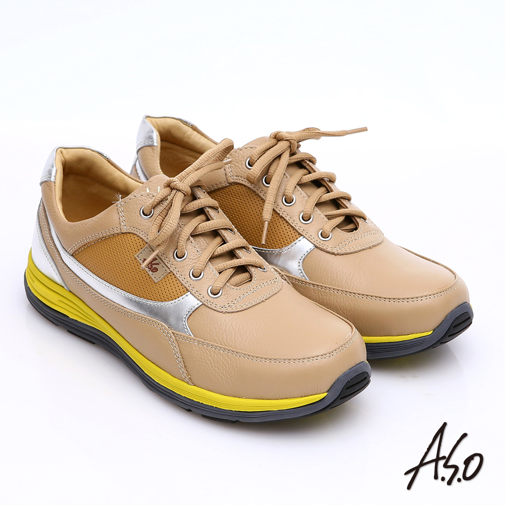 【A.S.O】輕漾彈力 全真皮撞色奈米綁帶休閒鞋(卡其)