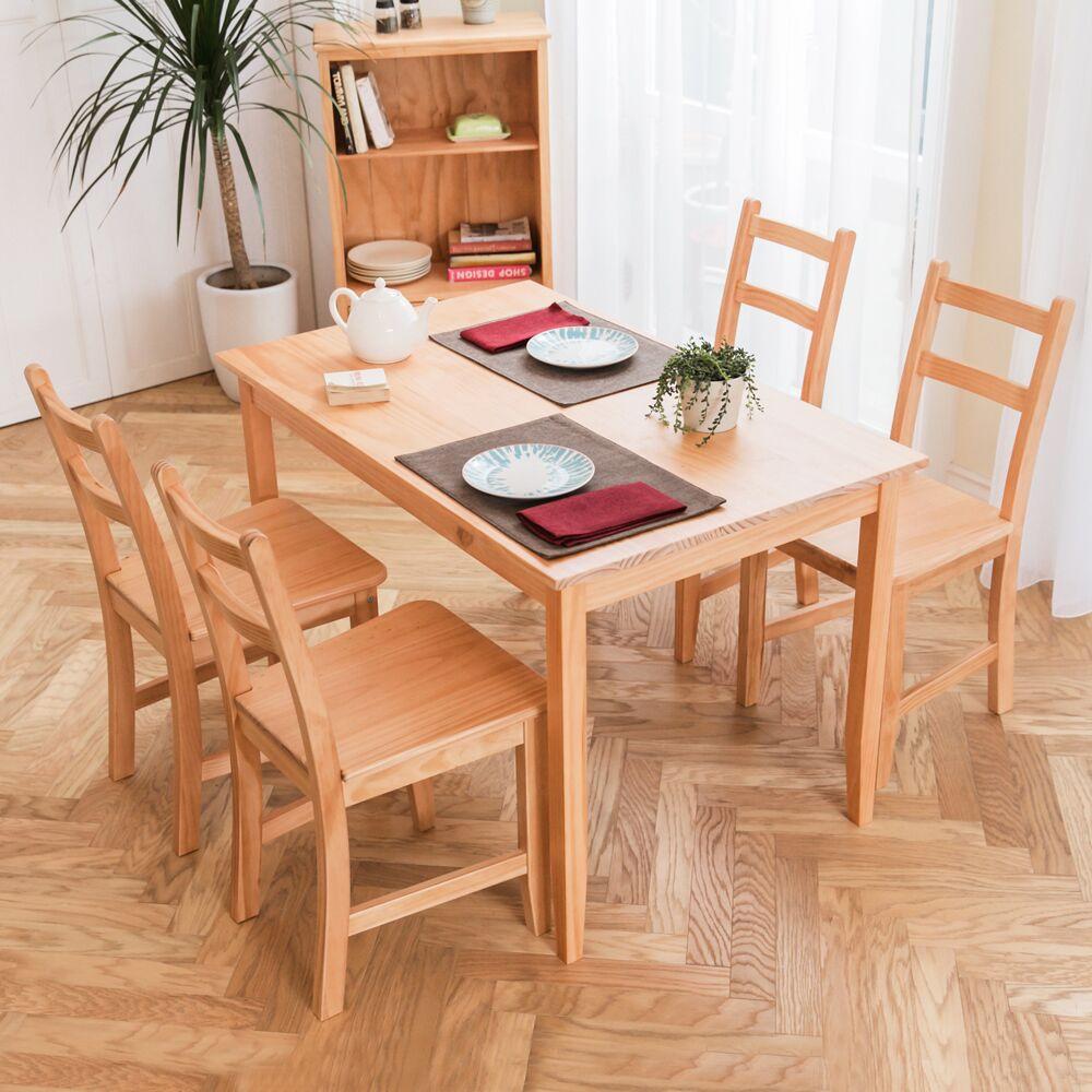 [自然行]- 北歐實木餐桌椅組一桌四椅 74x118公分/柚木色+原木椅墊