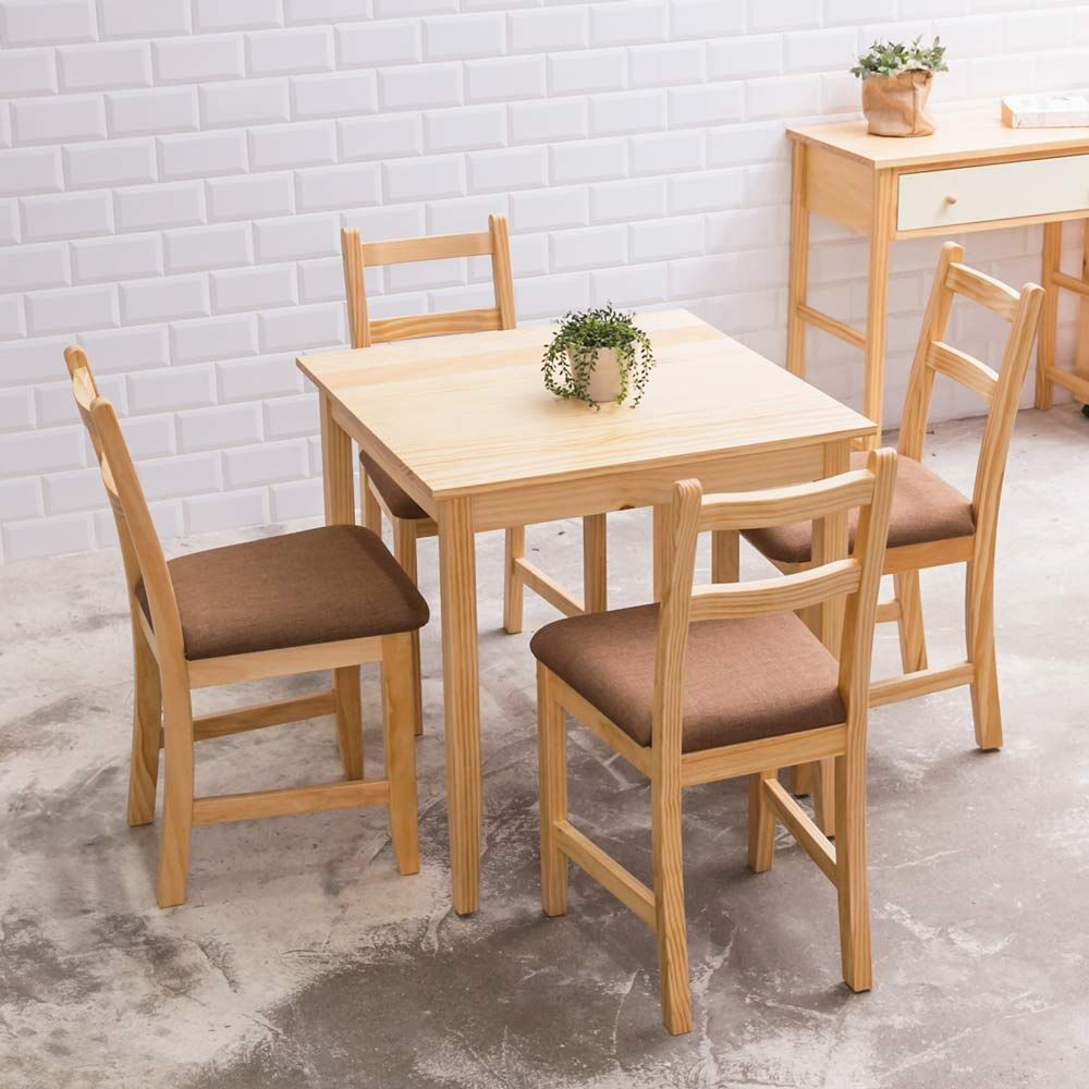 [自然行]- 北歐實木餐桌椅組一桌四椅 74*74公分/原木+深咖啡椅墊