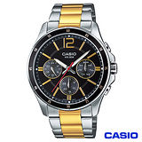 CASIO卡西歐 經典三眼男仕金系鋼帶腕錶-黑面 MTP-1374SG-1A