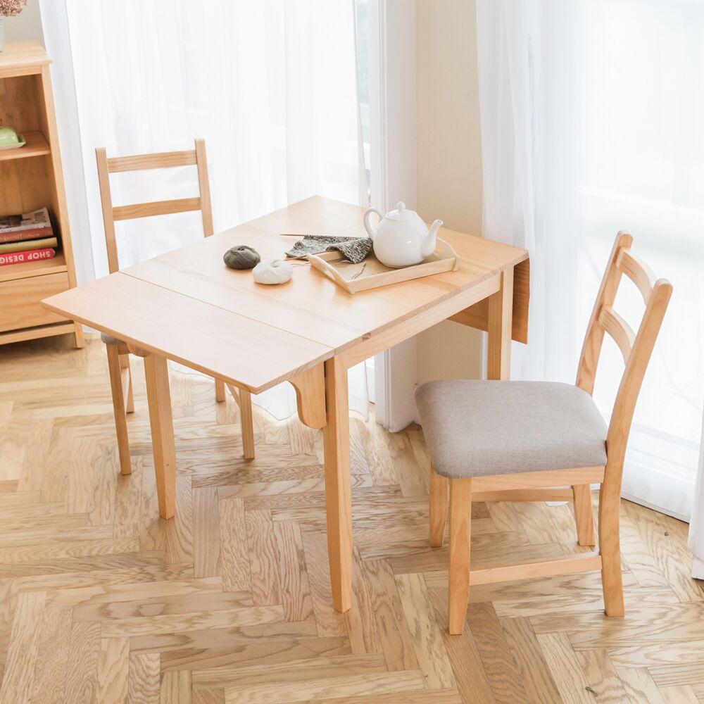 自然行 ~北歐雙邊延伸實木餐桌椅組一桌四椅74x122公分 原木 淺灰色椅墊