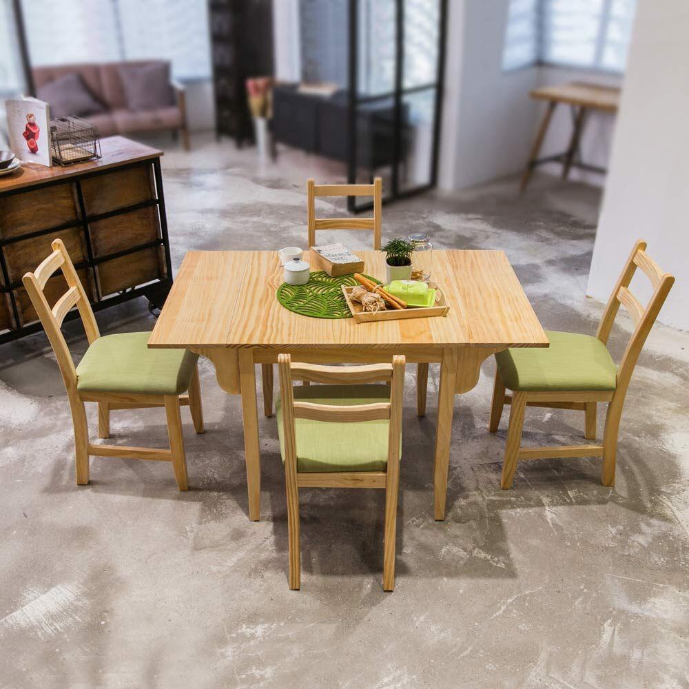 [自然行]- 北歐雙邊延伸實木餐桌椅組一桌四椅74x122公分/原木+抹茶綠椅墊