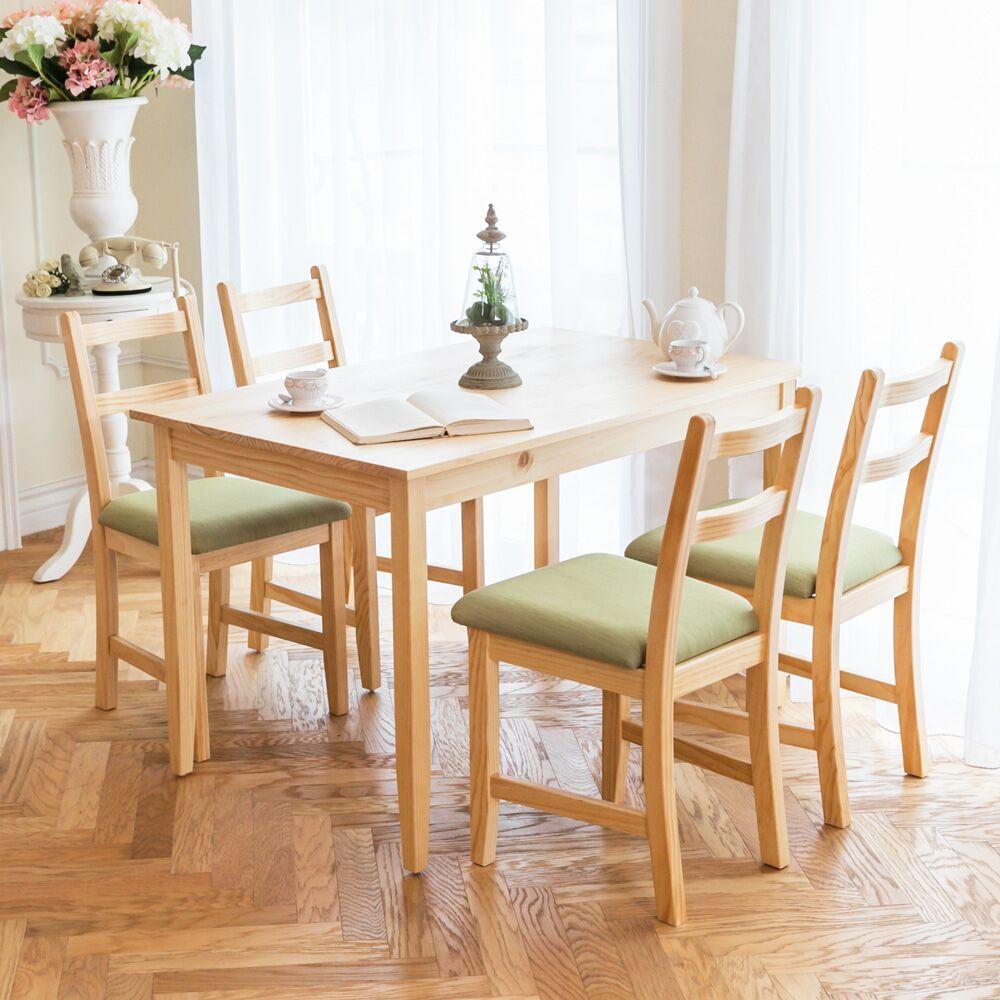 自然行 ~ 北歐實木餐桌椅組一桌四椅 74~118公分 原木 抹茶綠椅墊