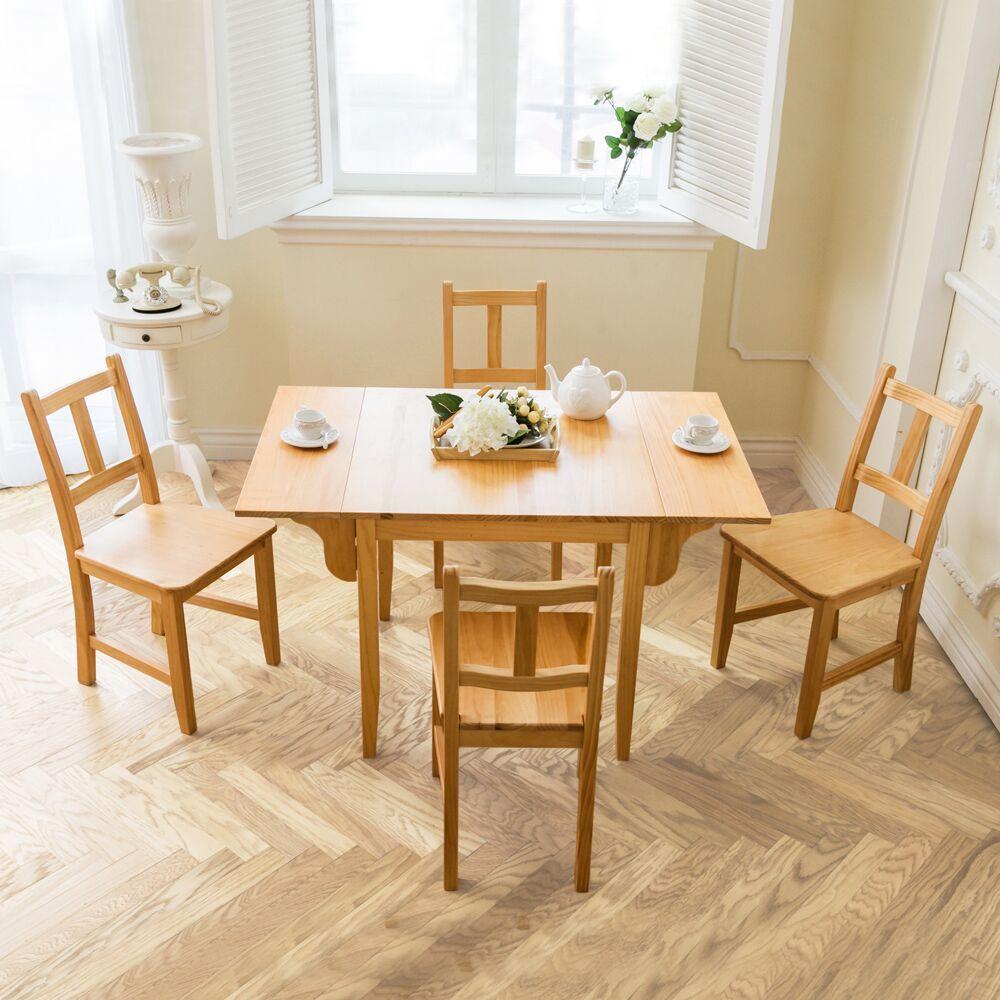 自然行 ~ 南法雙邊延伸實木餐桌椅組一桌四椅74X122公分 原木 原木椅墊