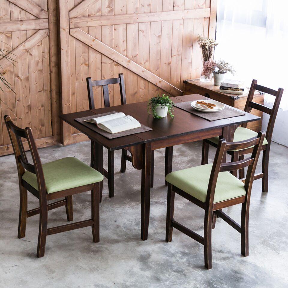 [自然行]-雙邊延伸實木餐桌椅組一桌四椅74x122公分焦糖+綠椅墊
