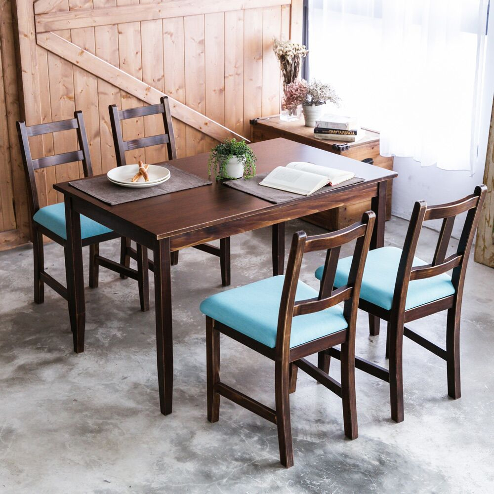 [自然行]- 實木餐桌椅組一桌四椅 74x118公分/焦糖+湖水藍椅墊