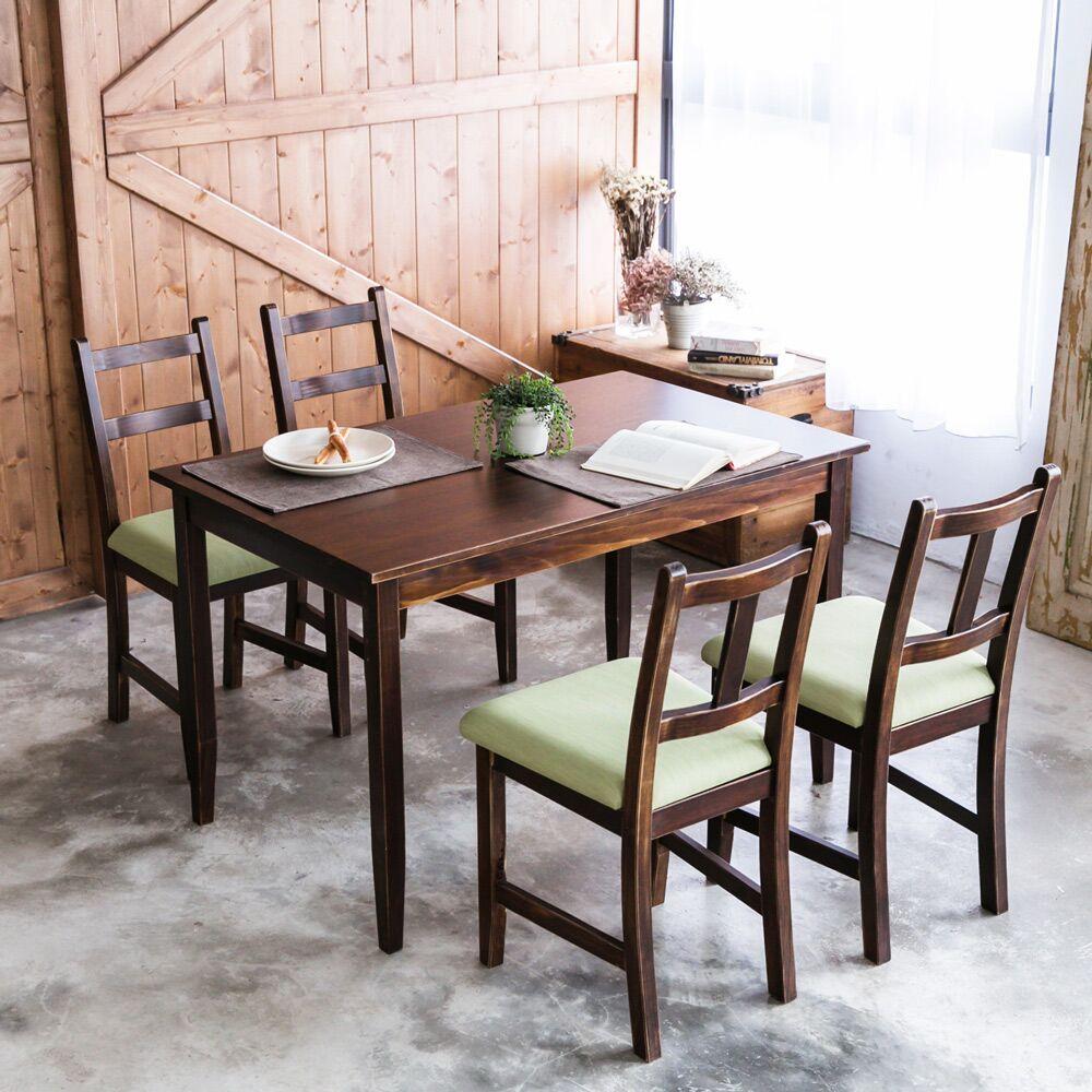 [自然行]- 實木餐桌椅組一桌四椅 74x118公分/焦糖+抹茶綠椅墊
