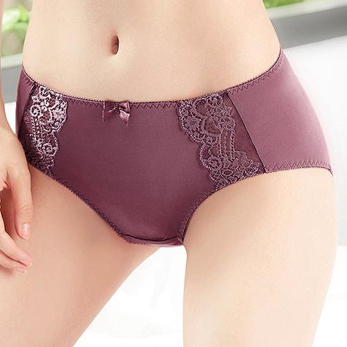 【EASY SHOP】嬌豔佳人 中腰平口褲(咖啡紫)