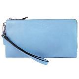 COACH 馬車印紋荔枝皮雙拉鍊手掛式長夾(水藍)