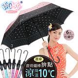 獨家降溫10℃直自動傘-拚點【粉膚色】SGS認證/防曬美白/抗UV/降溫傘-日本雨之戀