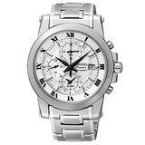 SEIKO Premier 羅馬時尚 兩地時間計時碼腕錶-銀 7T62-0LE0S(SNAF29J1)