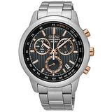 SEIKO 精工 簡約奢華三眼計時不鏽鋼腕錶/43mm/8T68-00A0P