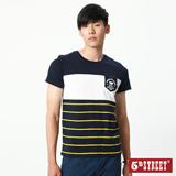 5th STREET 剪接印條短袖T恤-男-丈青