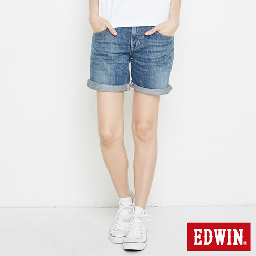 EDWIN MISS寬版牛仔短褲-女-漂淺藍