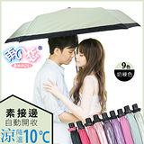 獨家降溫10℃三折自動開收-素色接邊【牛奶綠】SGS認證/防曬/抗UV/輕量/折傘-日本雨之戀