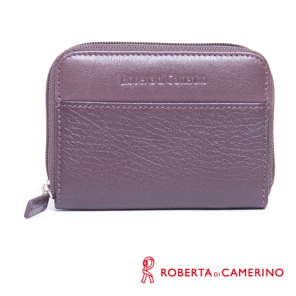 ROBERTA DI CAMERINO 荔枝紋零錢包 - 咖啡色 040R-B0302