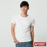 5th STREET 袋花植絨短袖T恤-男-白色
