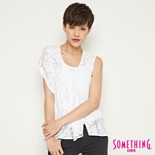 SOMETHING 網路限定 葉子燒花立裁短袖T恤-女-白色
