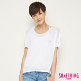 SOMETHING 網路限定 休閒星星寬鬆短袖T恤-女-白色