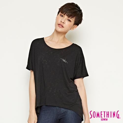 SOMETHING 網路限定 休閒星星寬鬆短袖T恤-女-黑色