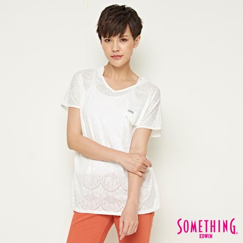SOMETHING 網路限定 優雅蕾絲風短袖T恤-女-白色