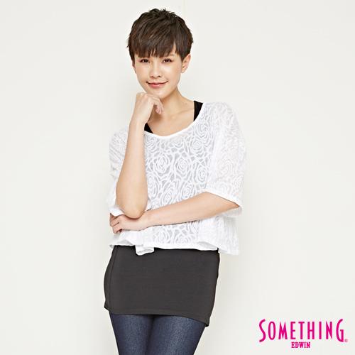SOMETHING 網路限定 浪漫玫瑰二件式短袖T恤-女-白色