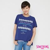 SOMETHING 復古寬鬆短袖T恤-女-丈青
