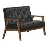 【AT HOME】 伯諾尼3.8尺胡桃雙人黑皮沙發