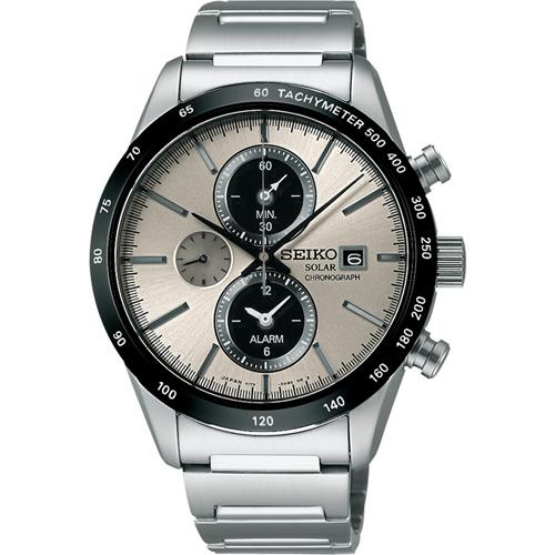 SEIKO太陽能鬧鈴兩地時間計時腕錶-銀灰/40mm V172-0AP0G(SBPY117J)