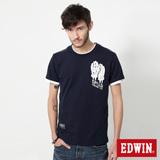 EDWIN 騎士手套印花短袖T恤-男-丈青
