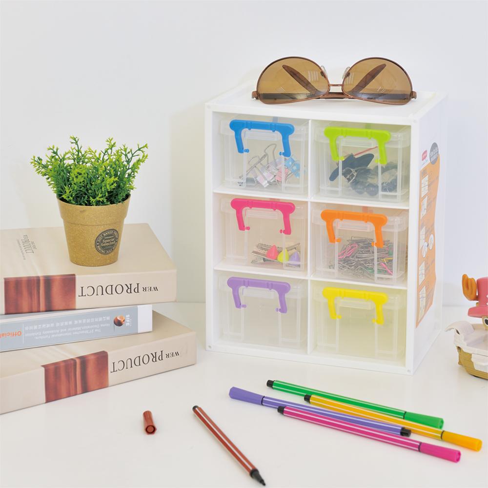 【ikloo】樂趣六格桌上收納櫃(2入)