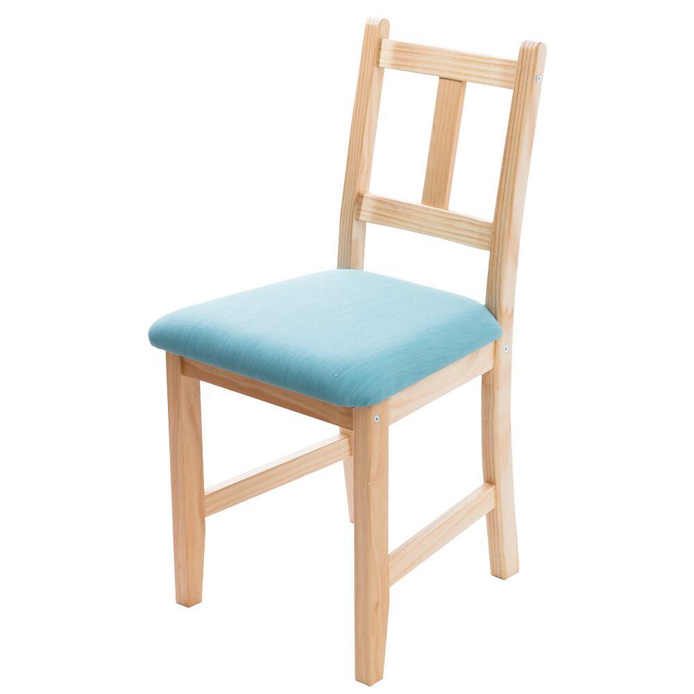 [自然行]-Avigons南法原木椅(扁柏自然色)湖水藍椅墊
