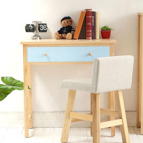 [自然行] 多機能書桌/ 兩用桌 (寬90cm/ 原木南歐鄉村藍)