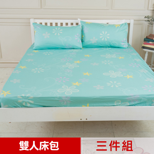 【米夢家居】台灣製造-100%精梳純棉雙人5尺床包三件組(花藤小徑)