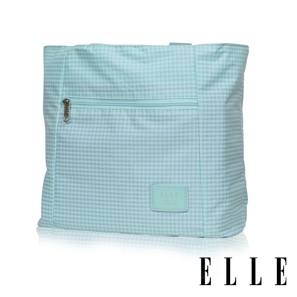 ELLE 輕旅休閒可掛式摺疊收納尼龍手提肩背包-(格紋綠 EL82357-12)