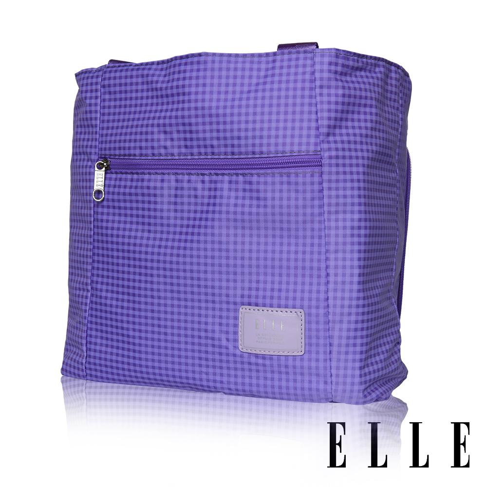 ELLE 輕旅休閒可掛式摺疊收納尼龍手提肩背包-(格紋紫 EL82357-24)